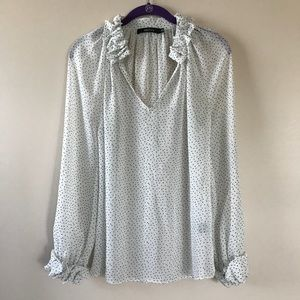 Ark & Co sheer ruffle polka dot blouse